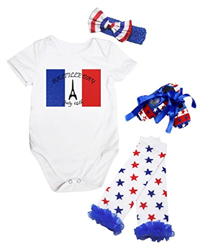 Bastille Shoe - Petitebella France Day July 14th White Bodysuit Romper Leg Warmer Shoes Nb-18m (6-12 Months)