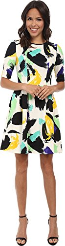 Vince Camuto Women's 3/4 Sleeve Printed Scuba Fit & Flare Dress Green Dress 2