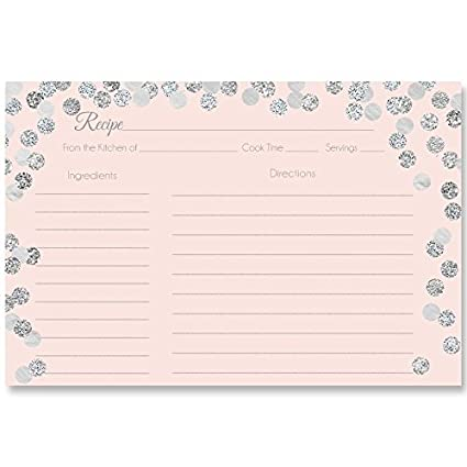 recipe cards double sided with lines size 4 x 6 confetti pink