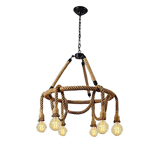 HAIXIANG 6 Light Hemp Rope Pendant Lamp Vintage Industrial Pendant Lamp Retro Edison Nautical Manila Rope Ceiling Light Fixtures by HAIXIANG (Image #9)