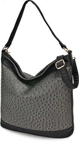 MASQUENADA, Damen Handtaschen, Hobo Bags, Schultertaschen, Beuteltaschen, Strauss, Grau Schwarz, 40 x 30 x 12 cm (B x H x T)