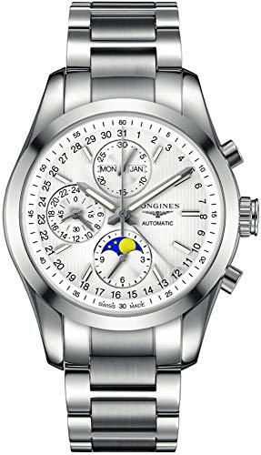 Longines Conquest Classic Silver Dial Stainless Steel Men's Watch (Longines Moon Phase)
