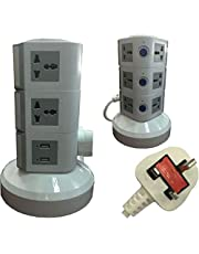3-meter-wire Universal Vertical Extension Socket with 2 USB Ports 3 Layers Gray