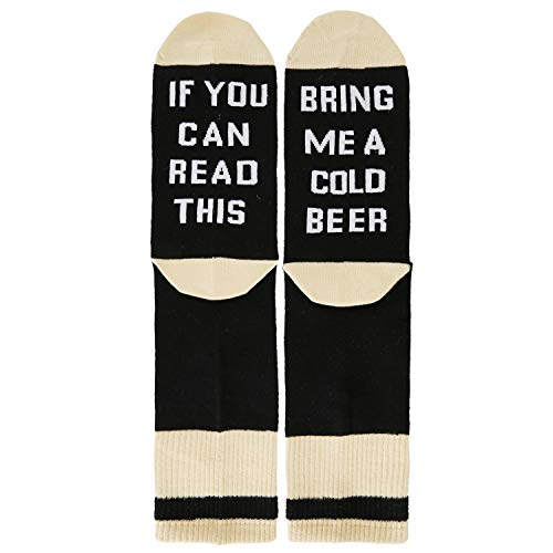 If You Can Read This Bring Me A Cold Beer Novelty Socks - Funny Gag Gift Idea for Beer Lovers, Birthday and Graduation Presents (Peel T-shirt Transfer)
