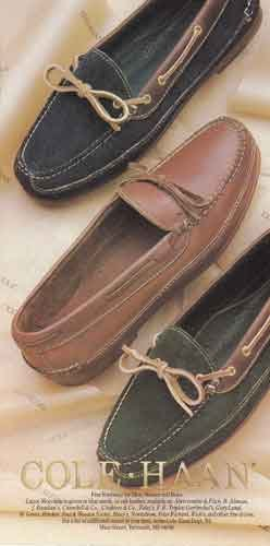 Canoe Moccasin - 1986 Cole Haan Shoes: Canoe Moccasin, Cole Haan Print Ad