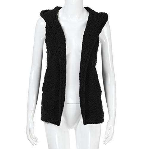 Faux Wool Vest Hoodie Black Jacket Zip Winter Holywin Coat Casual Fur Warm up Womens wfxYA6Fq8
