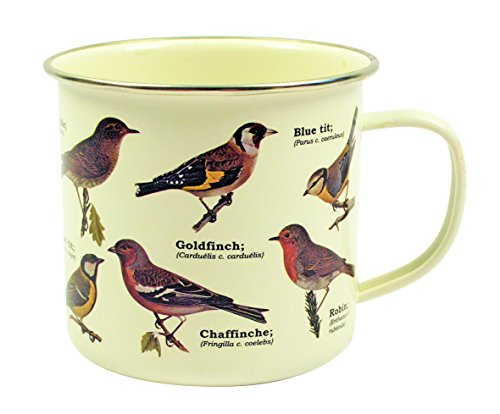 Gift Republic Garden Birds Enamel Mug, Multicolor