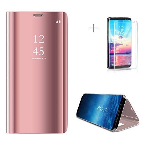 Samsung Galaxy S9 Caso, Espejo Smart Clear View Window and ,Clamshell, Soporte plegable, Adecuado para Samsung Galaxy S9 (5.8-Pulgada Azul) + 1 x HD Protector de pantalla Rose