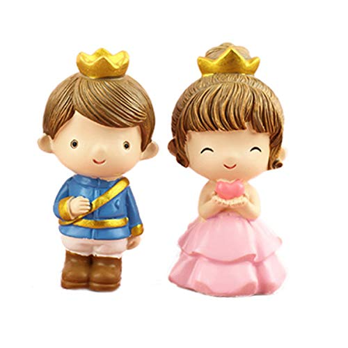 "2 Pcs Prince Princess Doll Figures, Mini Prince Princess Figure Collection Playset Toys, Cupcake Topper, Cake Toppers, Cake Decoration, 3.15"" Tall"
