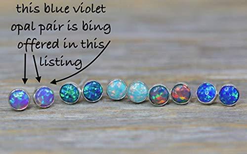 Blue Violet Purple Opal Stud Earring- 5mm Sterling Silver Round- Bezel Set- Mother's Day Gift Idea