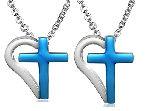 Daesar His & His Necklace Set Couples Stainless Steel Half Heart Cross Chain Link CZ Puzzle - Lanvin Uk