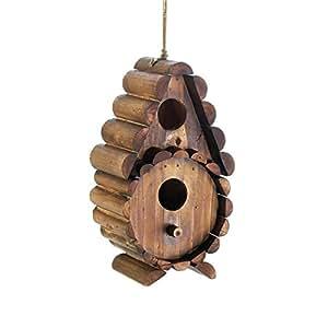 Casa de pájaros de madera, tronco redondo para colgar al aire libre, rústico, decorativa, casa de pájaros