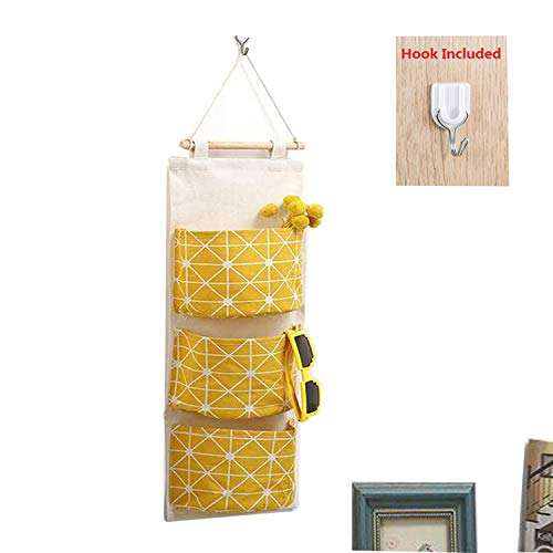Over Door Storage, Linen Farbric Wall Closet Storage Bag with 3 Pockets for Bedroom, Bathroom (Yellow)