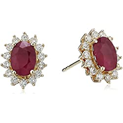 14k Yellow Gold Oval Ruby and Diamond Halo Stud Earrings (1/3 cttw, H-I Color, I1-I2 Clarity)