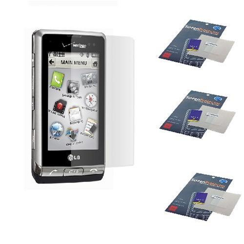 (Clear Durable Reusable LCD Screen Protector -3 Packs for Verizon LG Dare VX9700 VX-9700 Cell Phone)