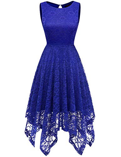 DRESSTELLS Women's Cocktail Floral Lace Handkerchief Hem Bridesmaid Wedding Gown Royal Blue -
