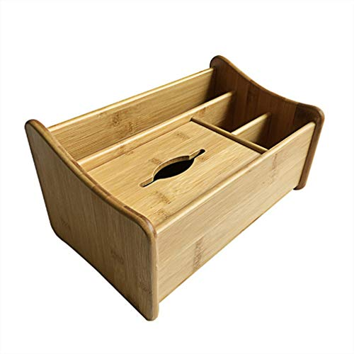 CGH Multifunction Bamboo Wooden Remote Control Tissue Box Cover Holder Desk Storage Box Container for Home and Office Use from CGH