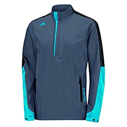 adidas Golf Men\'s Gore - Tex 2-Layer 1/2 Zip Jacket, Onyx/Black/Solar Blue, X-Large