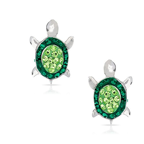 Silver Sea Turtle Earrings - Green Crystal Baby Sea Turtle Earring Set, Never Rust 925 Sterling Silver, Natural & Hypoallergenic Studs For Women, Girls & Kids, with Free Breathtaking Gift Box for a Special Moment of Love