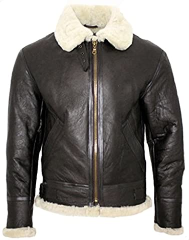 Men's Cream B3 Shearling Sheepskin World War 2 Bomber Leather Flying Aviator Jacket (Pelliccia Bomber Giacca In Pelle)