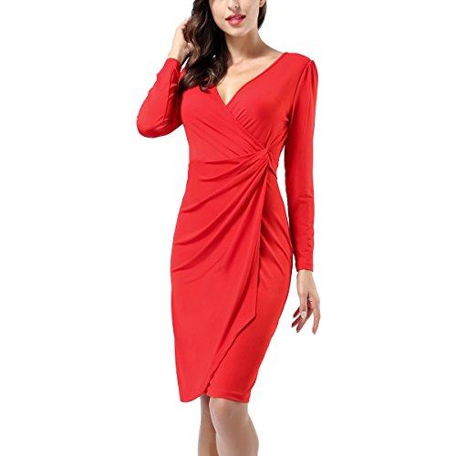 Women's Classic Long Sleeve V Neck Draped Waist Tie Belt Tulip Wrap Dress Red