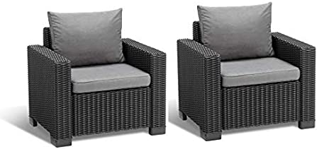 Allibert Lounge Sillón de California, 2 Unidades, Grafito/Panama Cool Gris, 83 x 68 x 72 cm, 233048: Amazon.es: Jardín