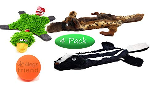 Dog Toy Set of 3 Plush Stuffingless Animals 24 Inches - Skunk/Wolf Squeaky Toys - Duck Squeaky w/Crinkle Body and Rope for Tug. Rubber Ball for Aggressive Chewers - Medium/Large Dogs - Carry Bag