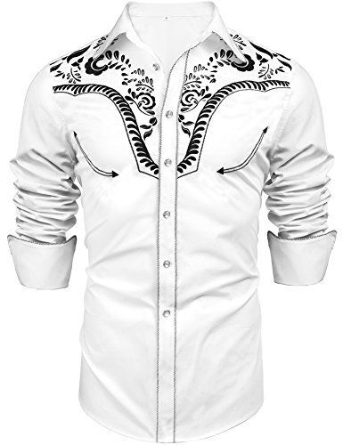 Daupanzees Men's Long Sleeve Embroidered Shirt Slim Fit Denim Shirt Cowboy Casual Button Down Shirts(White L)