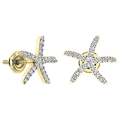 0.25 Carat (ctw) 14K Yellow Gold Round White Diamond Ladies Starfish Earrings 1/4 CT