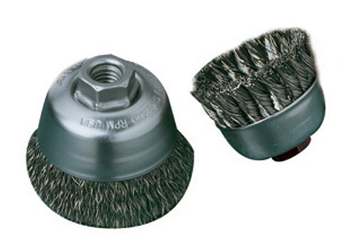 United Abrasives SAIT 06513 3-1//2 x .014 x 5//8-11 Arbor Carbon Bristle Crimped Style Angle Grinder Small Cup Brush