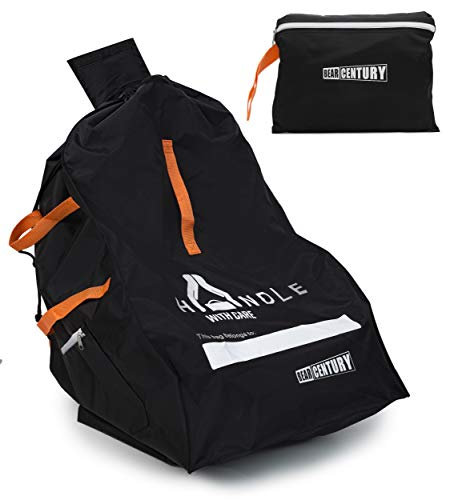 Heavy Duty Car Seat Travel Bag by Bear Century - Fit Most Carseat Models Including Backpack Straps, Side Pocket and Storage Pouch - Ideal for Airport Gate Check - Hands Free Car Seat Carrier