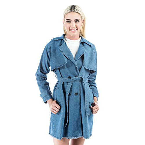 Aerusi Stone Washed Denim Trench Coat with Belted (Belted Denim Coat)