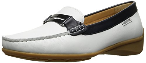 Mephisto Womens Norma Slip-on Loafer Vit / Marinblå Siden