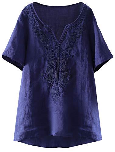 Mordenmiss Women's Embroidered Blouse Tunic V-Neck Linen Tops Short Sleeve Hi-Low Hem Shirt (XL,Navy)