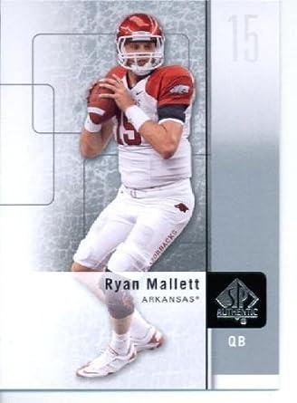 2011 Sp Authentic Football Cards 92 Ryan Mallett Rc Arkansas Razorbacks Rc Rookie Card New England Patriots Nfl Trading Card