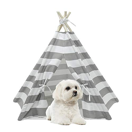RSFZ Pet Teepee for Cats Dogs Rabbits- Indoor or Outdoor Portable Pet Tents & House with Floor, 24inch Tall for Pets up to 18Lbs