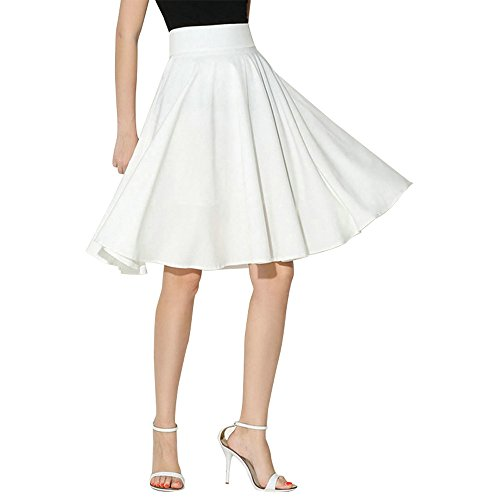 Skirt Pleated Sequin White (NREALY New Women's Solid Flared Retro Casual Knee Length Pleated Midi Office Work Skirt(S, White))