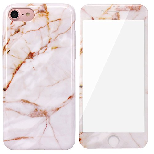 iPhone 7 Case, JAHOLAN Gold Marble Design TPU Soft Case with [Tempered Glass Screen Protector] Rubber Silicone Skin Protection Cover for Apple iPhone (Tpu Skin)