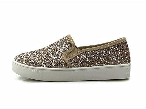 Glitter Closed Rose Toe On Soda Slip Sneakers Womens Gold Fnwv8Rq4x