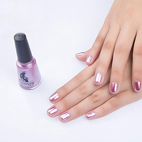 KingWo Mirror Nail Polish Stainless Steel Mirror Silver Nail Polish Metallic Mirror Effect Nail Polish 6ml (Pink)