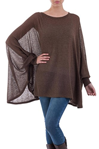 NOVICA Brown Cotton Knit Bohemian Drape Sweater, Desert Breeze'