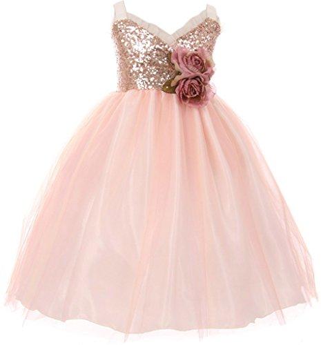 Little Girl Sequin Bodice Ruffle Bias Trim Flower Girl Dress Blush 4 KK (Girls Blush)