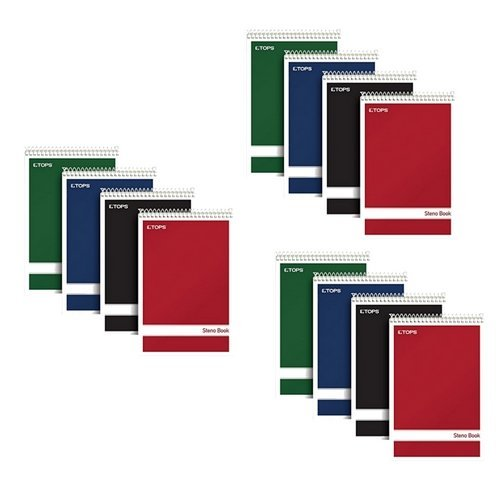 TOPS Steno Books, 6'' x 9'', Gregg Rule, Green Tint Paper, Assorted Color Covers, 80 Sheets, 4 Pack, 80221 (12 Notebooks Total), 3 Pack