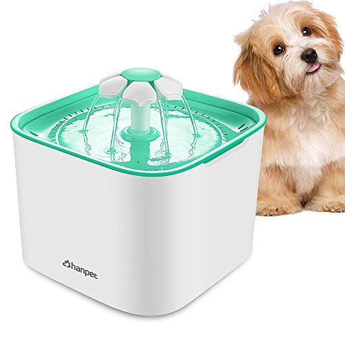 HANPET Pet Water Fountain 2L Automatic Cat Dog Feeder PF101 with Filter and Ultra-Silent Pump Flower...