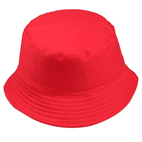 Dressin Women Men Unisex Fisherman Hat Fashion Sun Protection Cap Outdoors Hat Solid Color Flat Top Sun Hat Red (Trim Hat Bucket)