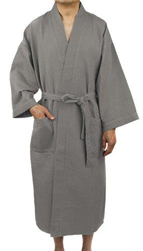 Leisureland Men's Spa Gym Waffle Weave Kimono Bathrobe Robes 48'' (Gray without Trim) by Leisureland