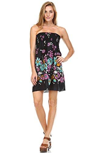 Zoozie LA Women's Summer Sundress Floating Flowers Black (Bright Flowers Dress)