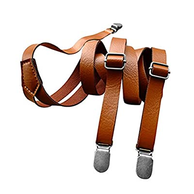 Tinksky Fully Adjustable Clip On Suspender Stylish Dress PU Leather Suspenders for Women Men, Christmas Birthday Gift for friends (Brown)
