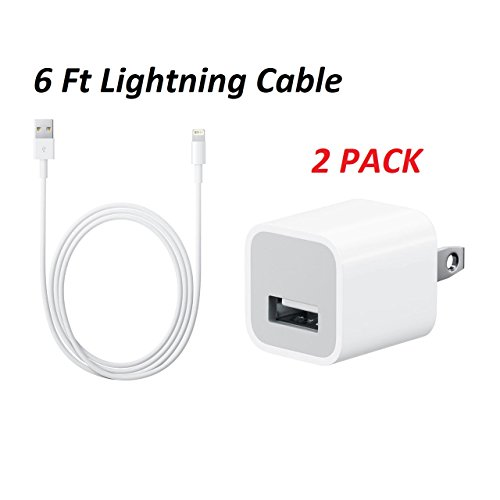 2 Pack Apple iPhone Charger 5W Cube USB Adapter + 6 Foot (2 Meter) UrbanX 8-Pin USB Cable for iPod, iPad, iPhone
