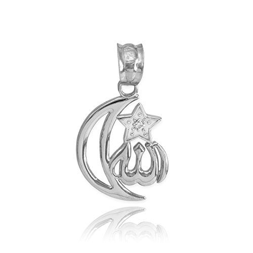 Solid 14k White Gold Diamond-Accented Islamic Star and Crescent Moon Allah Charm Pendant (Gold Diamond Moon Charm)